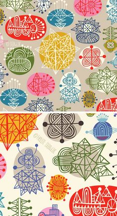 abstract thought structures pattern by Helen Dardik Textile Prints, Textile Patterns, Textile Design, Pretty Patterns, Beautiful Patterns, Motifs Animal, Illustrator, Retro Vintage, Surface Pattern Design