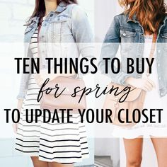 denim jacket striped dress outfit idea, how to update your spring closet, how to update your house for spring, cognac accessories with denim jacket