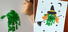 Manualidades de Halloween para niños con huellas: bruja