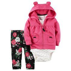 c94ed3405 Carter's Newborn & Infant Girls' Hooded Jacket, Bodysuit & Pants -  Floral