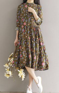 Women loose fit over plus size retro flower dress maxi tunic pregnant maternity
