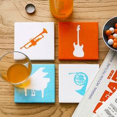 print your own stencil and paint tiles for coasters