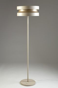 Floor lamp designed by Lisa Johansson-Pape for Stockmann-Orno (enameled steel). Brass Floor Lamp, Modern Floor Lamps, Lamp Design, Lighting Design, Cozy Apartment Decor, Parquet Flooring, Contemporary Lamps, Desk Lamp, Table Lamps