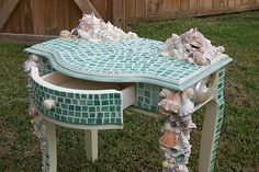Mosaic Shell Table by Mississippi Artist