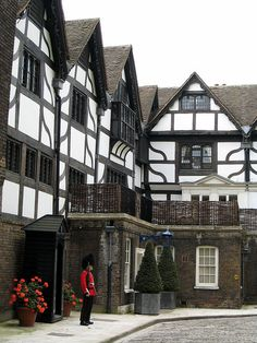Tudor houses in the grounds of the Tower of London.  These are home to the Beefeaters (Yeoman of the Guard) who live in the grounds.