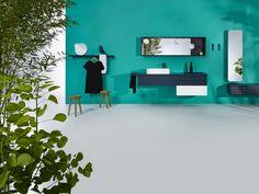 INGRID Bathroom design by Jean-François D'Or for VIKA. Modular system: Sinks | Storages | Mirrors | Light | Plug in | Towel holder | Shelves | Trays | Hook. Solid surface | Porcelain | Oak | Leather. Available at VAN MARCKE and others distributors. Pictures © Lenzer Photographers. Loudordesign studio. Industrial design, Brussels, Belgium. http://www.loudordesign.be/en/products/ingrid_bathrooms/