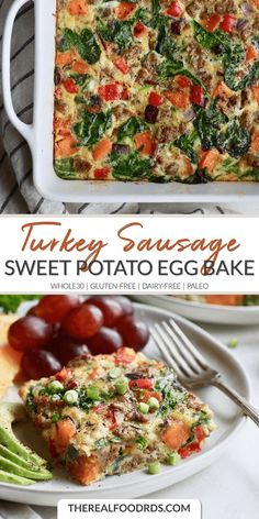 Sweet Potato Turkey Sausage Egg Bake - The Real Food Dietitians Recipes - Gluten Free Potato Egg Bake, Sausage Egg Bake, Sausage And Egg, Chicken Sausage, Paleo Recipes, Real Food Recipes, Budget Recipes, Drink Recipes, Breakfast Healthy