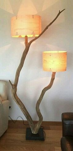 Pin by Tina Kiegstad on Kiegstedet in 2018 Rustic Lamps, Wood Lamps, Rustic Decor, Diy Home Crafts, Diy Home Decor, Wooden Tripod Floor Lamp, Driftwood Lamp, Pool Table Lighting, I Love Lamp