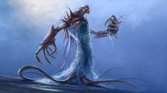 Wasser-Koloss, Meer, der Dämon Vektorgrafik