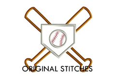 Home Plate Baseball and Bat Trio Applique by OriginalStitches, $4.00