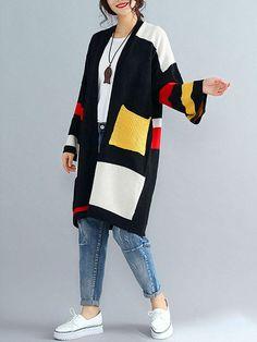 Casual Women Long Sleeve Outwear Loose Patchwork Color Cardigan - Banggood Mobile