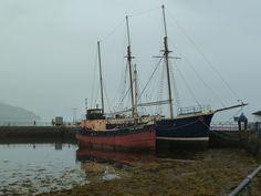 Ships docked at Inveraray, Scotland.  Foggy day. #coastal. Photo by J. Underwood.