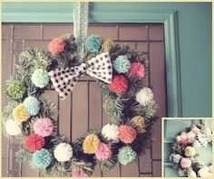 [Challenge] Create a colorful pom pom wreath by yourself #DIY #Christmas #decoration #Xmas