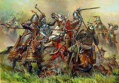 Battle of Kulikovo, First victory of the Russians over the Tartars-Mongols of the Golden Horde. Medieval Knight, Medieval Armor, Medieval Fantasy, Military Art, Military History, Eslava, Dark Ages, Ancient History, History Medieval