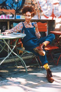 'The Original' Corduroy Dungarees in Petrol Blue by Lucy &amp Fashion 90s, Fashion Outfits, Womens Fashion, Korean Fashion, Hipster Grunge, Soft Grunge, Street Style Vintage, Dungaree Dress, Dungarees Outfits