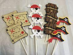 Cupcake Toppers partido pirata decoraciones del pirata