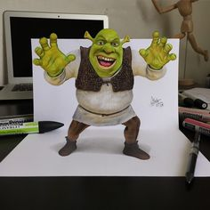 Shrek. 2D Drawings Optical Illusions made to Look 3D. By Stephan Moity.
