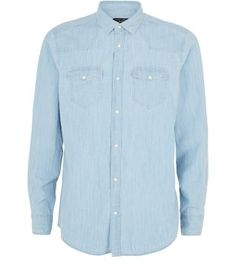 A wardrobe essential: the Pale Blue Bleach Denim Long Sleeve Western Shirt can be worn smartly buttoned up or casually open over a t-shirt.