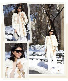 Look de Alice Ferraz: casaco de pele com shape, que é diferente dos modelos tradicionais. A manga é mais larga, curta e deixa o suéter por baixo aparecendo. Para combinar, o combo calça de alfaiataria + loafer branco.