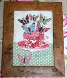 Fabric picture, teacup with butterflies, hand-embroidered £10.50