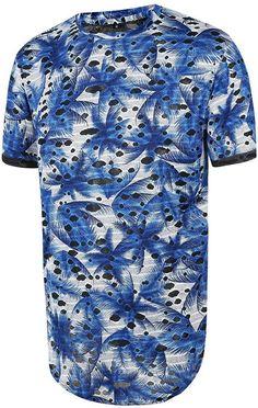 Pizoff Unisex Curved Hem Extra Longline Big Drop T Shirt 3D Graphic Print Pattern: Clothing