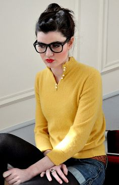 lovin' this! from the yellow, scalloped collar with dainty white buttons, to the braided belt, & jean shorts & tights! Love!