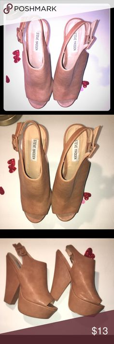 STEVE MADDEN PLATFORM SLING BACK SANDEL❤️❤️❤️ Gently used platform sling back sandals good condition worn twice 6 inch platform only flaw is a little bubble on one heel as shown in photo but very nice shoe Steve Madden Shoes Platforms