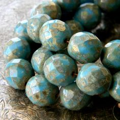 Vintage Sky 6 Czech Glass Faceted Rounds 12mm by TheBeadApothecary (Craft Supplies & Tools, Jewelry & Beading Supplies, Beads, czech, faceted, 12mm, round, picasso, sky, blue, aqua, vintage style, rustic, metallic, silver, fire polished)