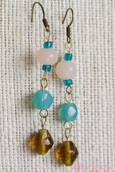 Seafoam Blue and Amber Earrings by EdasDesign on Etsy