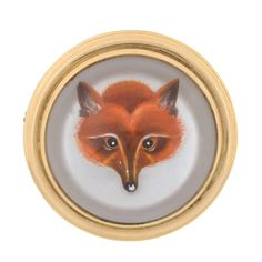 J.E. Caldwell Victorian Reverse Carved Rock Crystal Fox Brooch | From a unique collection of vintage brooches at https://www.1stdibs.com/jewelry/brooches/brooches/