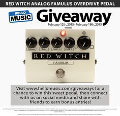 Distort it Yourself... Win a Red Witch Famulus guitar effects pedal from Hello Music! Enter at www.hellomusic.com/giveaways