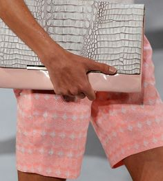 Pink and gray clutch.