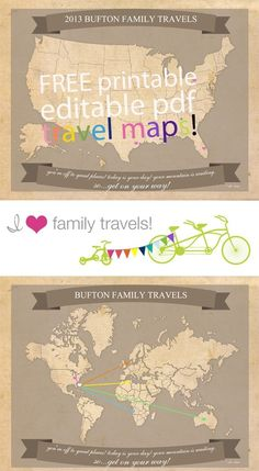 Free Printable Travel Maps from I Heart Family Travel.