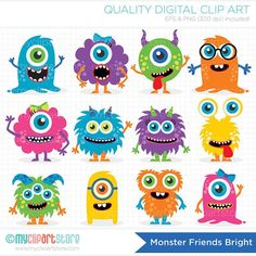 Monster Friends – Vector Clipart by MyClipArtStore on Creative Market - Obst Clipart Baby, Vector Clipart, Monster Party, Monster Birthday Parties, Monster Clipart, Monster Stickers, Monster Vector, Cute Monsters, Little Monsters