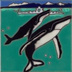 Humpback whale ceramic tile hand painted original art tile wall decor or trivet