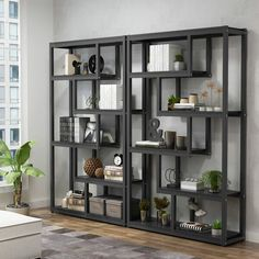This bookcase is perfect for bringing storage space and industrial-chic style to your home and office. Showcasing 5 shelves and a steel frame accent, it is a must-have accent for your space. Bookshelf Storage, Open Bookcase, Cube Bookcase, Etagere Bookcase, Metal Shelves, Display Shelves, Bookshelves, Bookcase Plans, Office Shelving