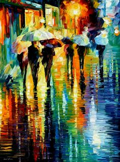 """Rainy etude"" by Leonid Afremov ___________________________ Click on the image to buy this painting ___________________________ #art #painting #afremov #wallart #walldecor #fineart #beautiful #homedecor #design"