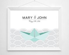Personalized Wedding Gift for Couples  origami paper by noodlehug - Personalized Wedding Gift for Couples - origami paper boat illustration - newlywed engagement anniversary gift custom names date aqua blue mid century modern wedding illustration art deco great gatsby