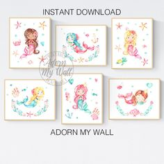 Mermaid Printables, Girls Nursery Prints, Set of 6 Prints, Girls Bedroom Prints, Mermaid Print Set, Mermaid Wall Art, Printable Wall Art