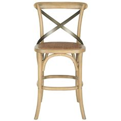 Outfit your home bar or kitchen island in cottage-chic style with this charming barstool, showcasing a metal crossed back and neutral finish. Its woven rattan seat brings breezy flair to your decor while its nailhead trim adds timeless appeal to any casual or formal aesthetic. Play up this piece's traditional inspiration by adding it to a living room seating group comprised of floral-pattern slipper chairs and ornately-carved wood-framed loveseats for a cohesive ensemble. Adorn nearby wal...