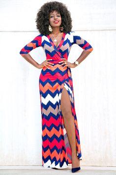 Printed Wrap Maxi Dress                                                       …