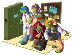 I've seen a lot of fanart of the turtles in school so I HAD to give it a try myself. Leo- Class president Donnie- Class nerd R. Schools out Ninga Turtles, Ninja Turtles Art, Teenage Mutant Ninja Turtles, Tmnt Girls, Tmnt 2012, Wattpad, Disney Cartoons, A Team, Funny Pictures