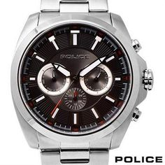 BRAND NEW AUTHENTIC POLICE SILVER ALL STAINLESS STEEL w/DAY & DATE RETAIL $390! Less than $150!!!