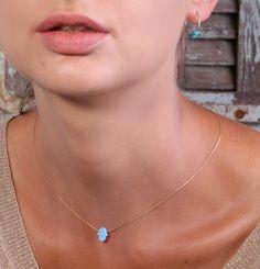 Hamsa necklace gold necklace opal hamsa necklace by Avnis on Etsy