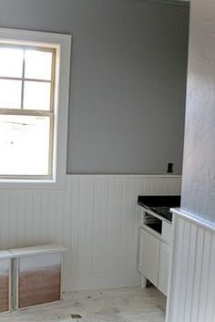 I like this color! An example of Coventry Gray with white beadboard - in bathroom?