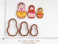Matryoskha Cookie Cutter Set Russian dolls by No Egg Cookies, Cut Out Cookies, Sugar Cookies, Fondant, Biscuits, Matryoshka Doll, Cookie Cutter Set, Baby Birthday, Birthday Ideas
