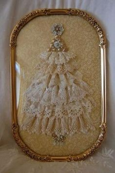 Christmas tree made of vintage lace and vintage jewelry in an ornate frame . - Christmas tree made of vintage lace and vintage jewelry in an ornate frame … - Lace Christmas Tree, Jewelry Christmas Tree, Shabby Chic Christmas, Black Christmas, Noel Christmas, Jewelry Tree, Victorian Christmas, Vintage Christmas, Jewelry Shop