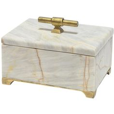 Valmont Regency Gold Iron Marble Decorative Box ($416) ❤ liked on Polyvore featuring home, home decor, small item storage, marble box, gold jewelry box, gold home decor, ivory box and gold home accessories