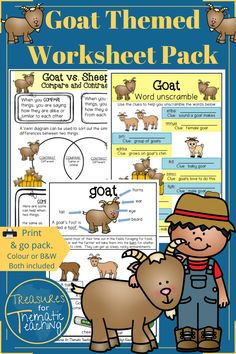 The pack is made up of English (English Language Arts E.L.A) worksheets that cover reading, writing and language activities as well as Mathematics worksheets that cover word problems and data and graph work.  The worksheets are all related to the goat theme.  #farmanimals #treasuresforthematicteaching #goattheme #worksheets