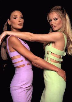 Carla Bruni and Karen Mulder by Jean-Daniel Lorieux for Gianni Versace Fall 1992